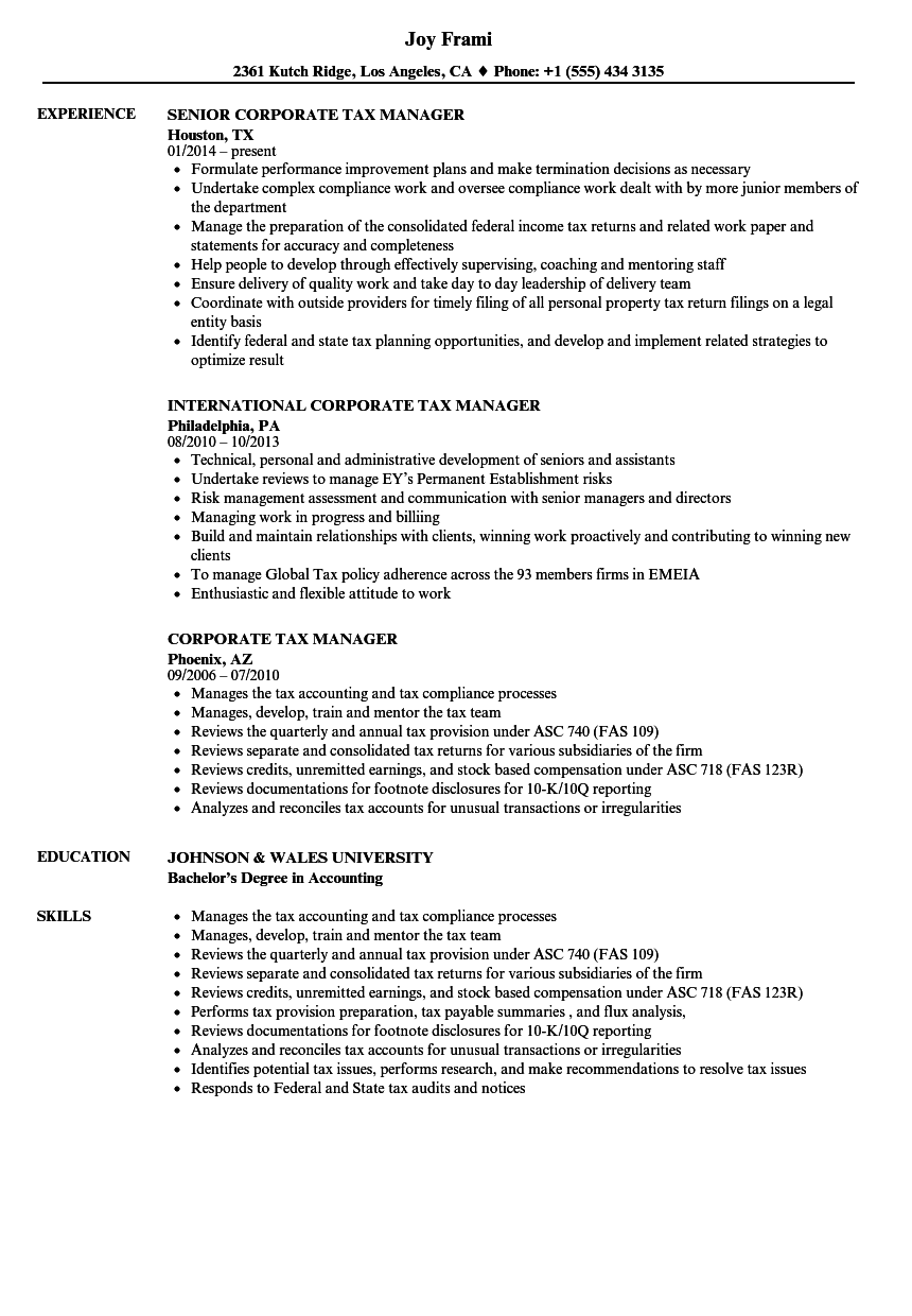 Download Corporate Tax Manager Resume Sample As Image File