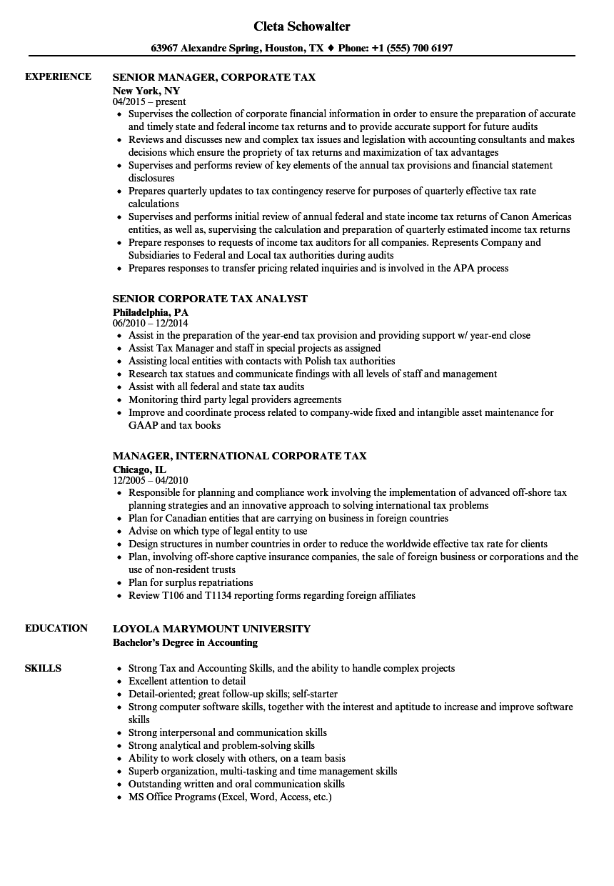corporate tax resume samples