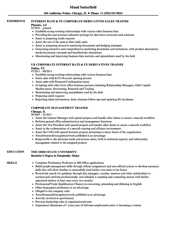 corporate trainee resume samples velvet jobs