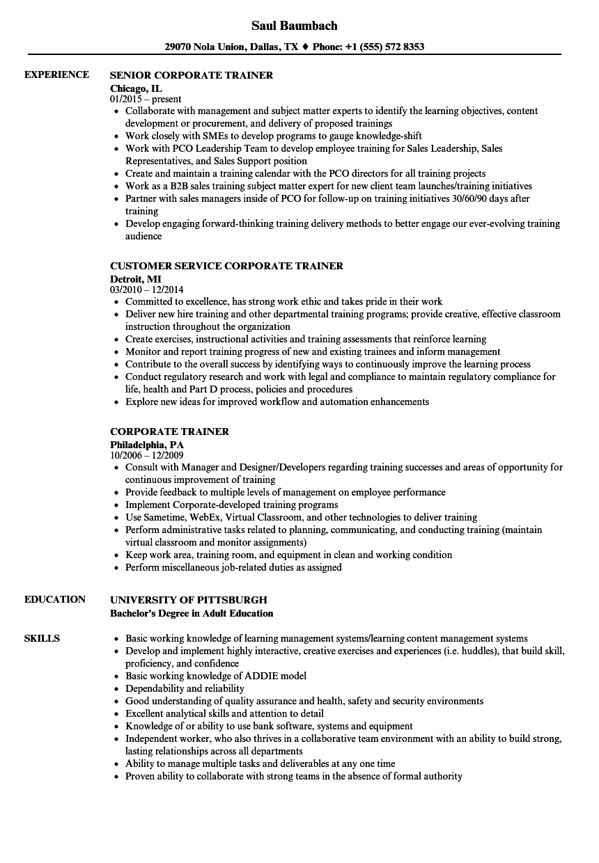 Corporate Trainer Resume Samples Velvet Jobs