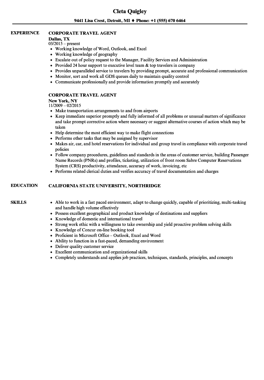 Corporate Travel Agent Resume Samples | Velvet Jobs