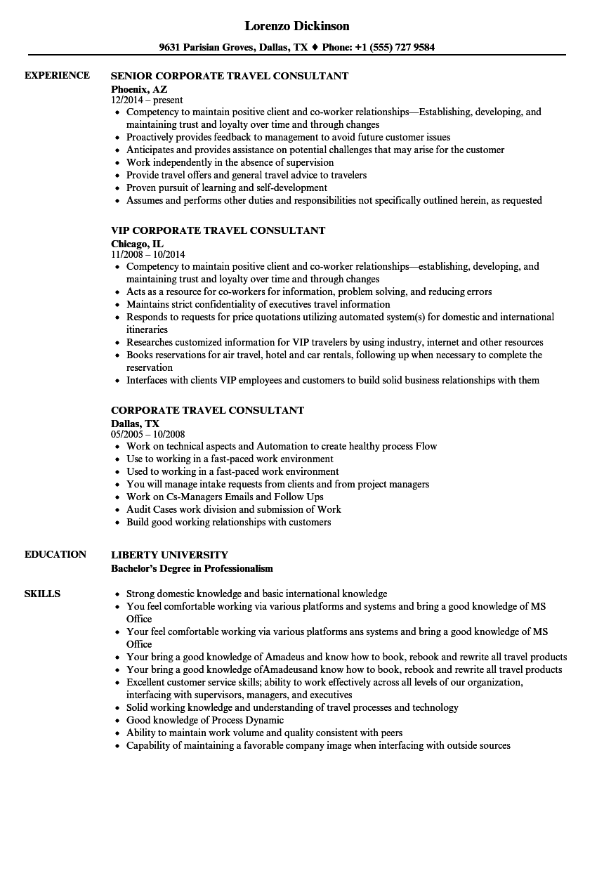 Corporate Travel Consultant Resume Samples Velvet Jobs