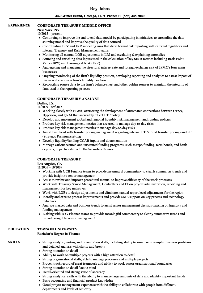 corporate treasury resume samples