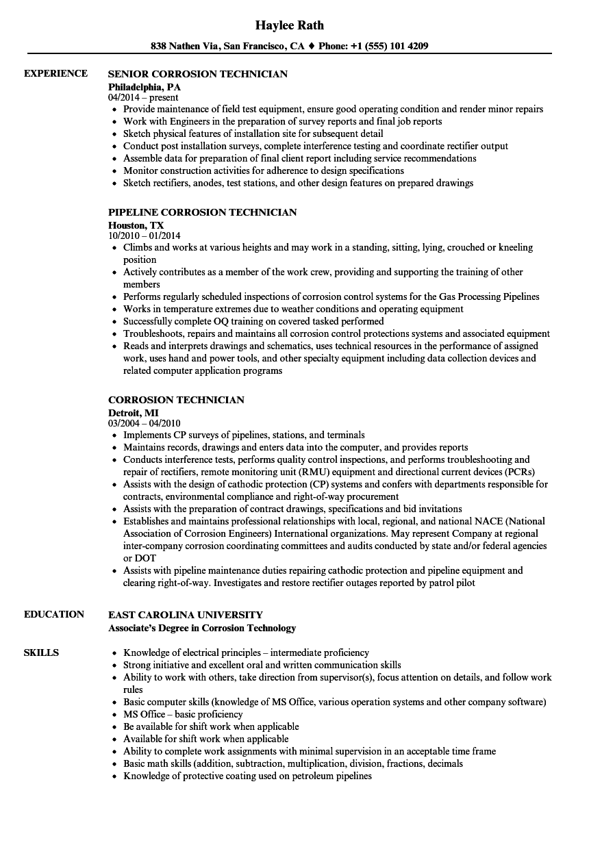 corrosion technician resume samples velvet jobs