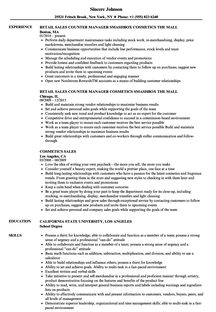 cosmetics sales representative resume
