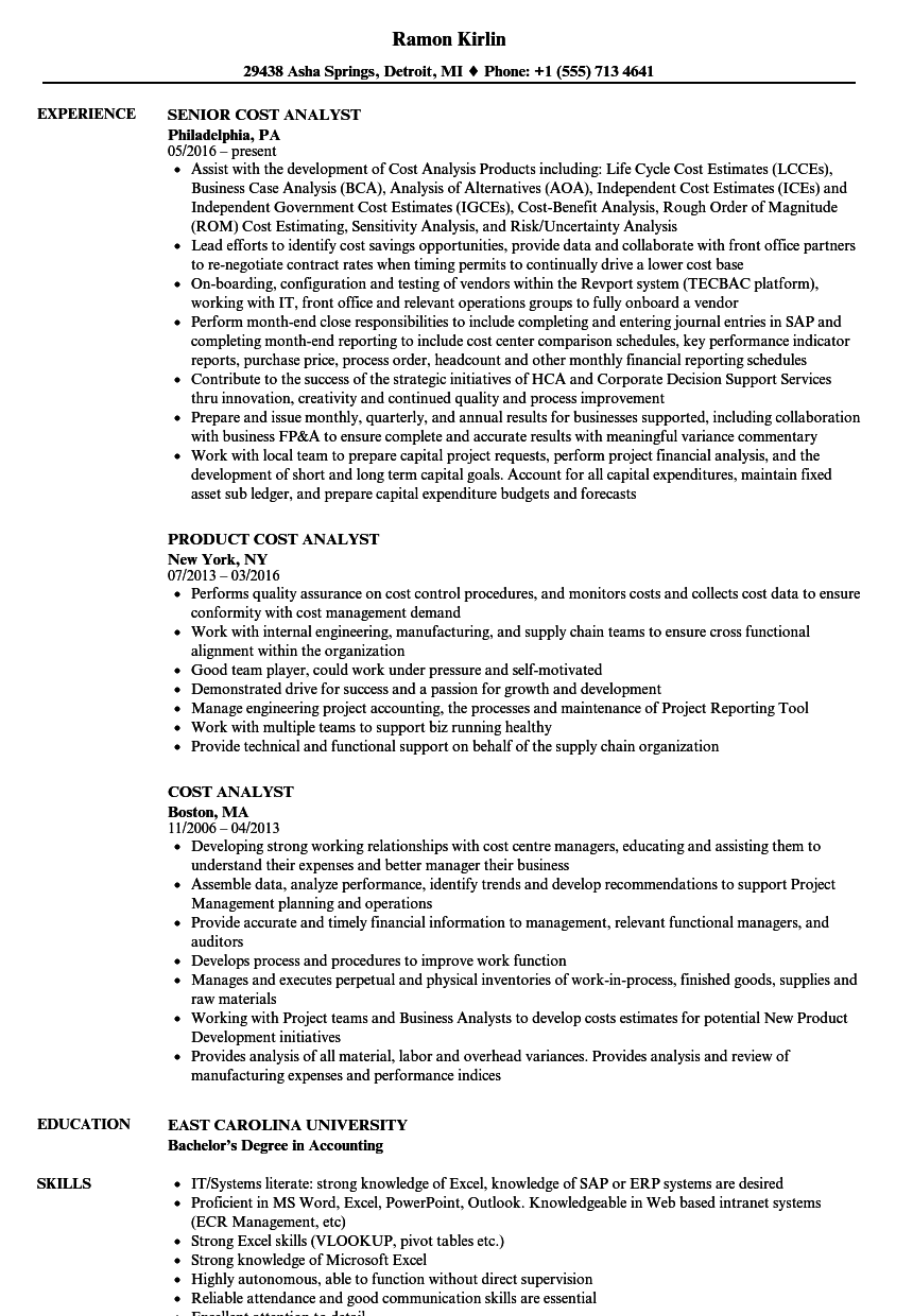 Cost Analyst Resume Samples | Velvet Jobs