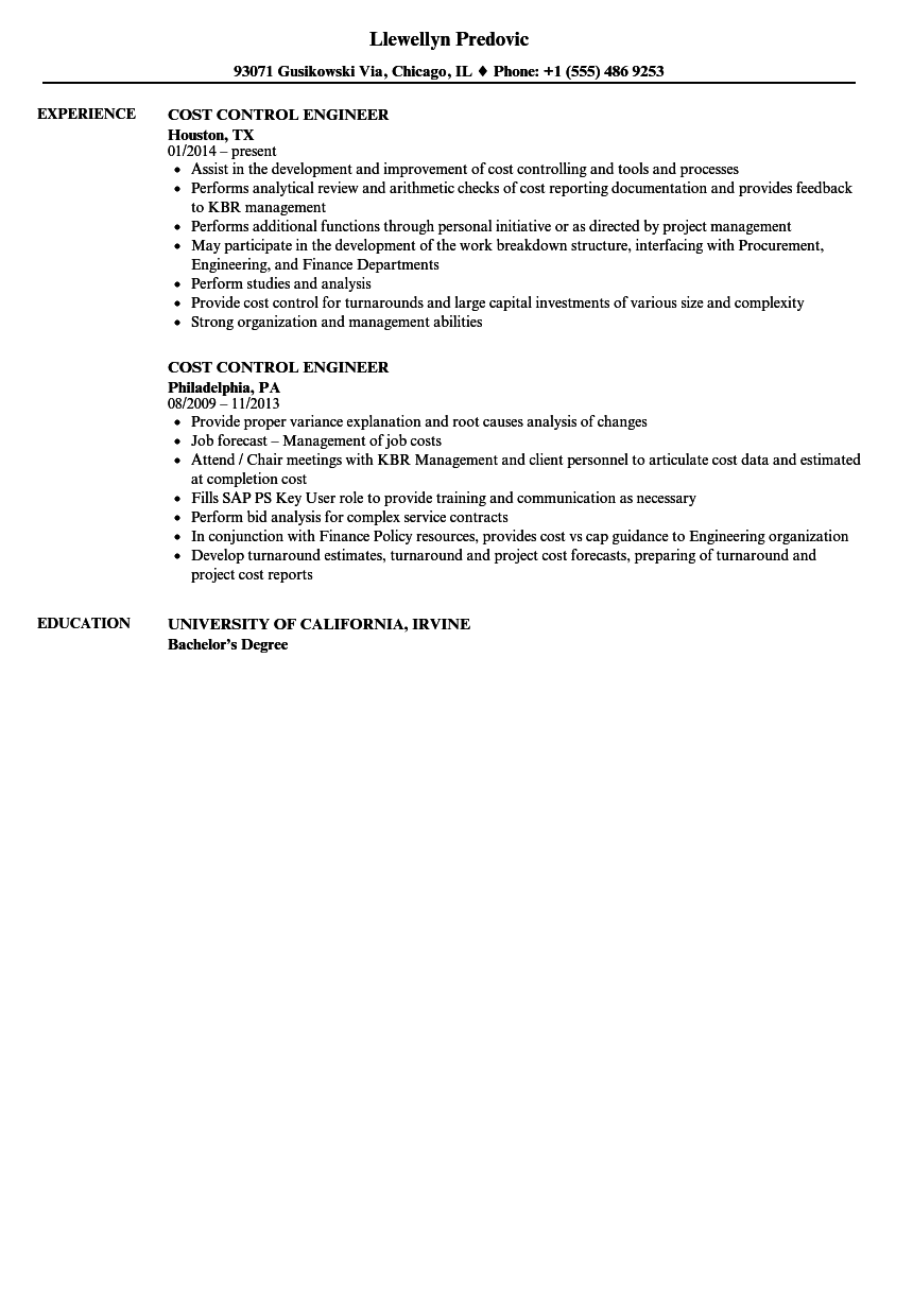 Cost Control Engineer Resume Samples | Velvet Jobs