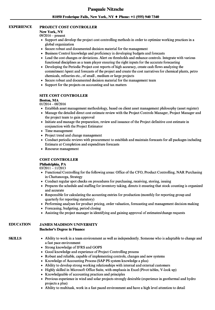 cost controller resume samples velvet jobs