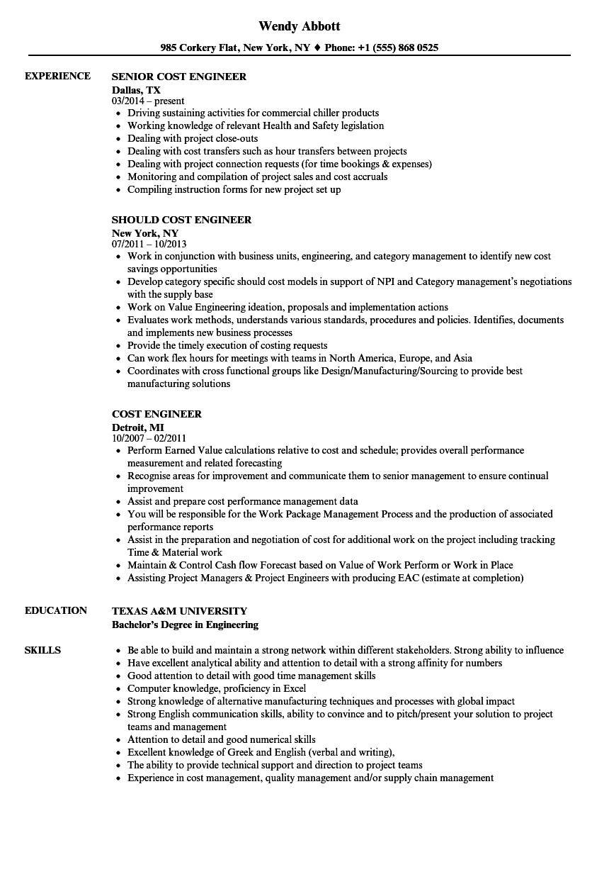 Cost Engineer Resume Samples | Velvet Jobs