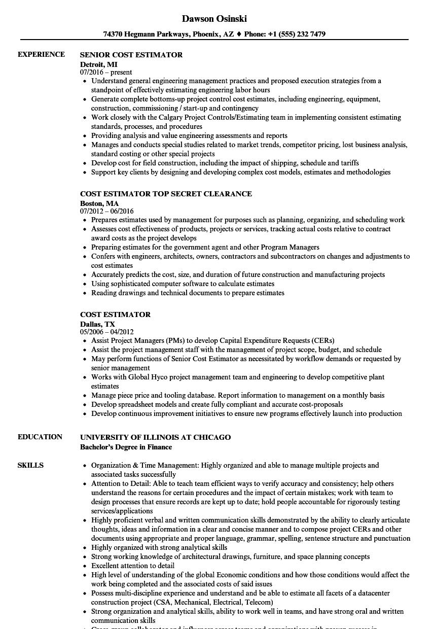 cost estimator resume samples