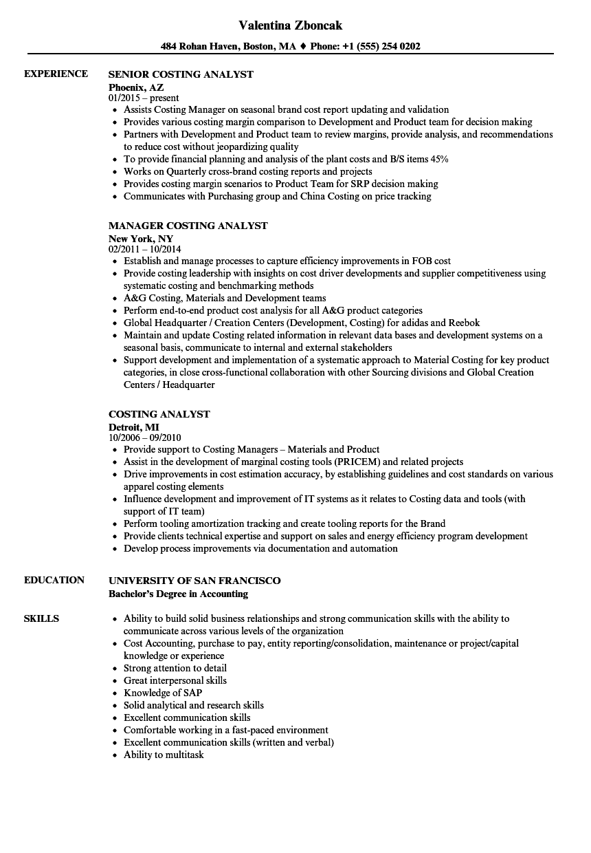 costing analyst resume samples