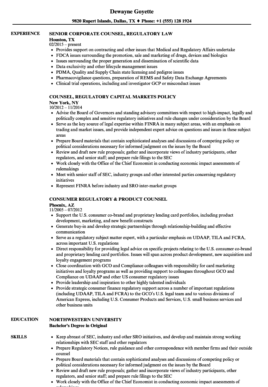 counsel  regulatory resume samples