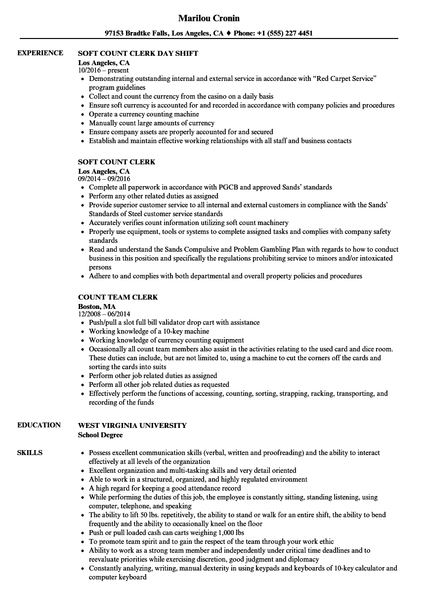 Count Clerk Resume Samples | Velvet Jobs