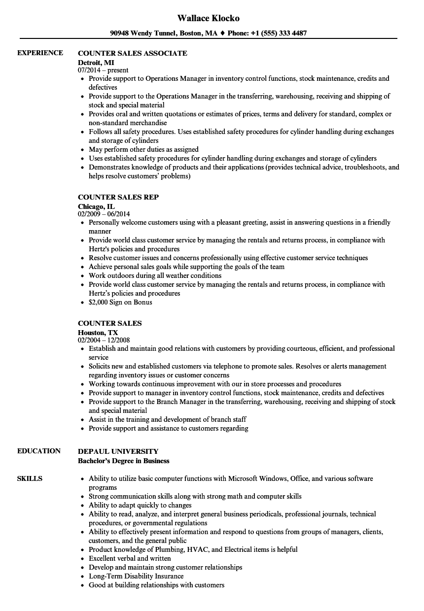 download counter sales resume sample as image file - Salesman Resume Examples