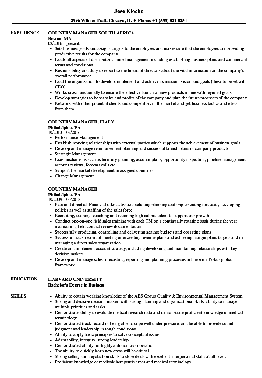 country manager resume samples