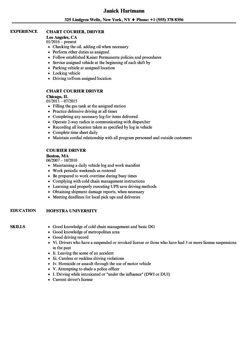 ups driver job description resume