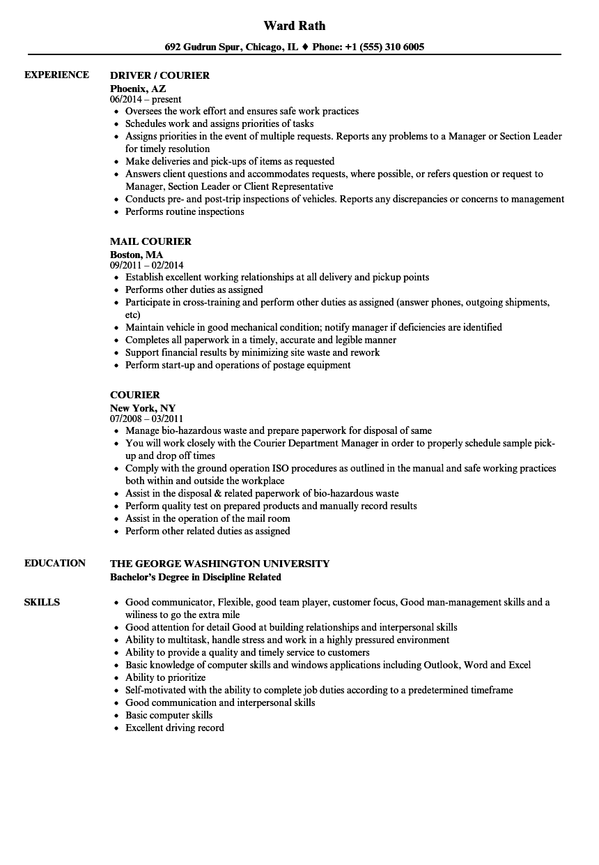 Courier Resume Samples Velvet Jobs