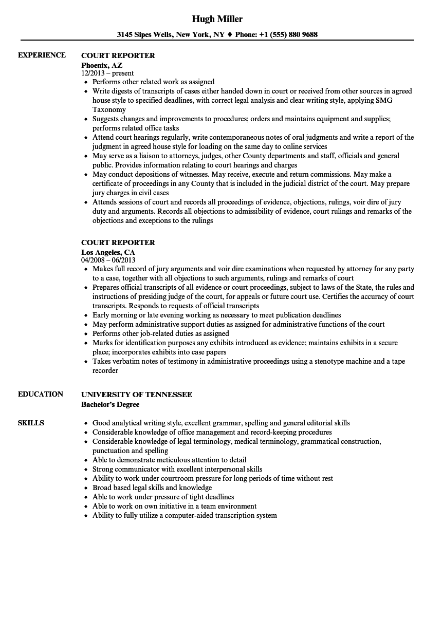 download court reporter resume sample as image file - Court Reporter Resume Samples