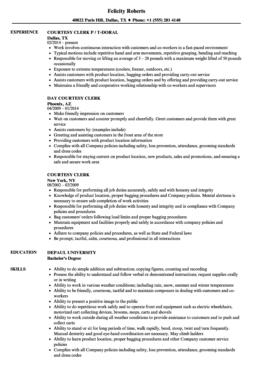 Courtesy Clerk Resume Samples | Velvet Jobs