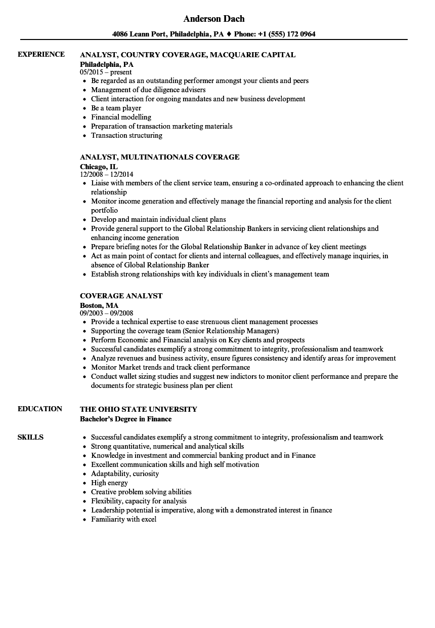 Coverage Analyst Resume Samples | Velvet Jobs