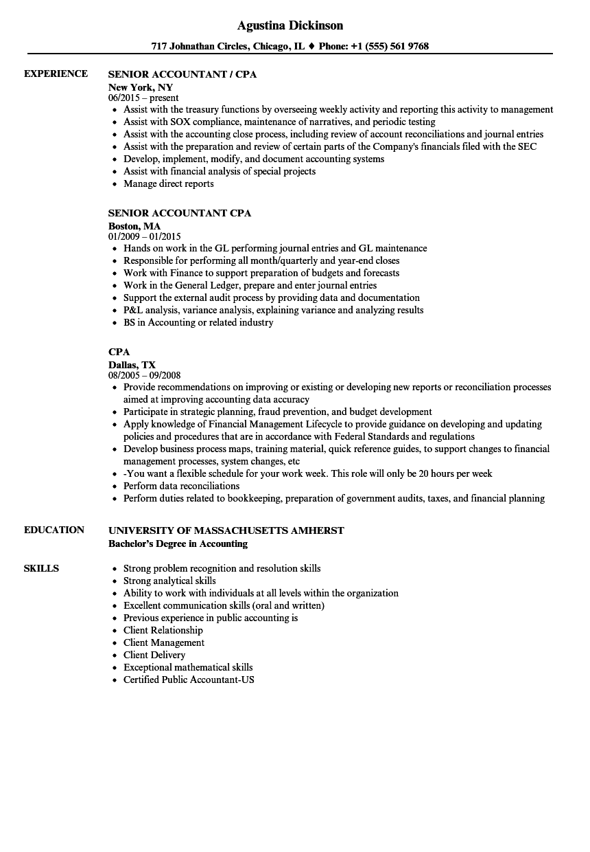 Cpa Resume Samples Velvet Jobs