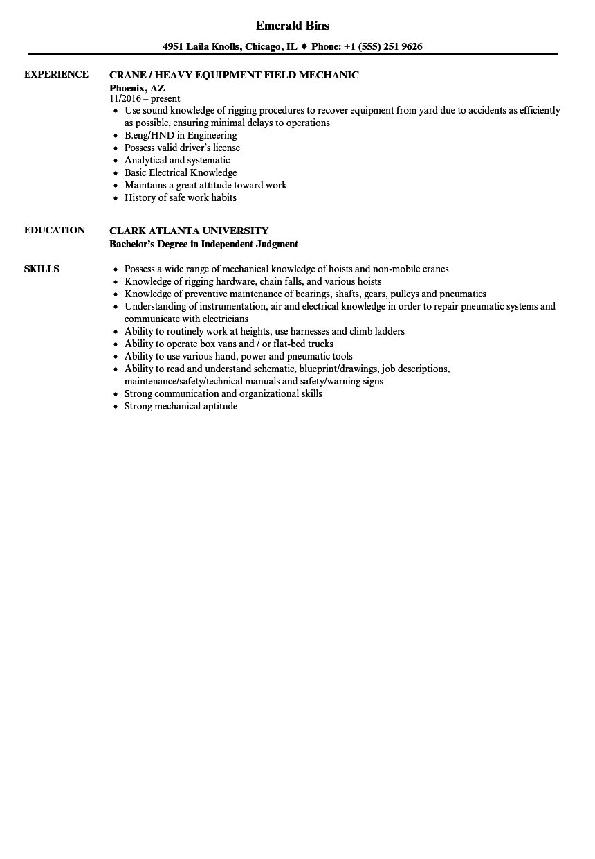 download crane mechanic resume sample as image file