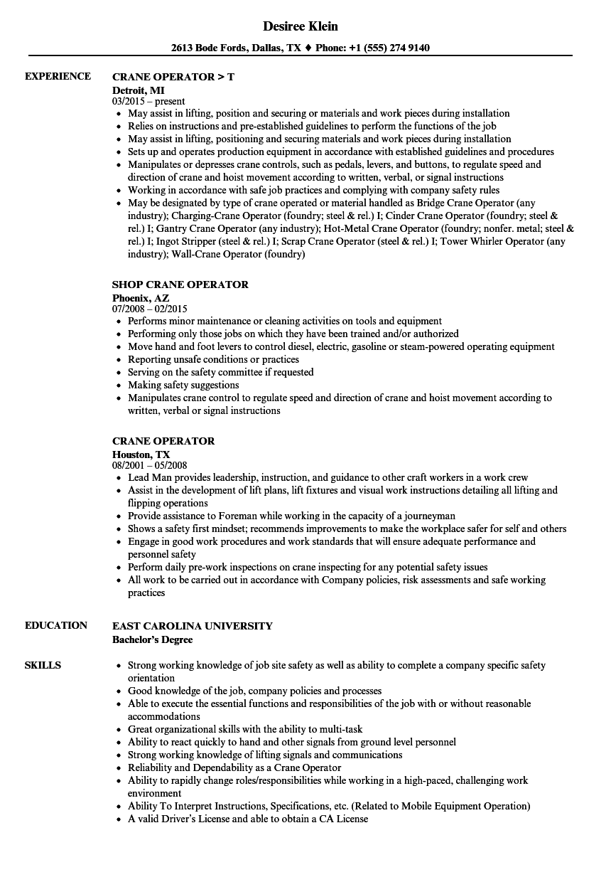 Crane Operator Resume Samples | Velvet Jobs