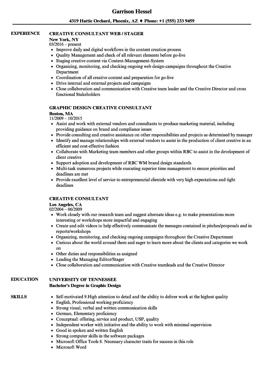 Creative Consultant Resume Samples | Velvet Jobs