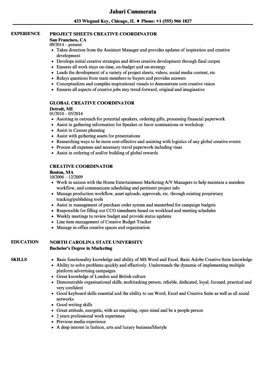 creative coordinator resume samples
