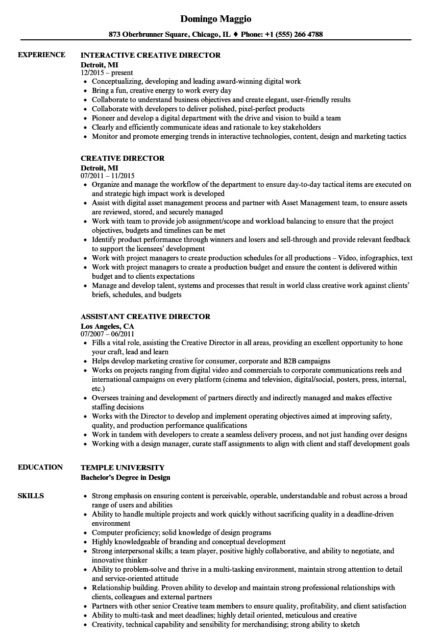 creative director resume sample - Etame.mibawa.co