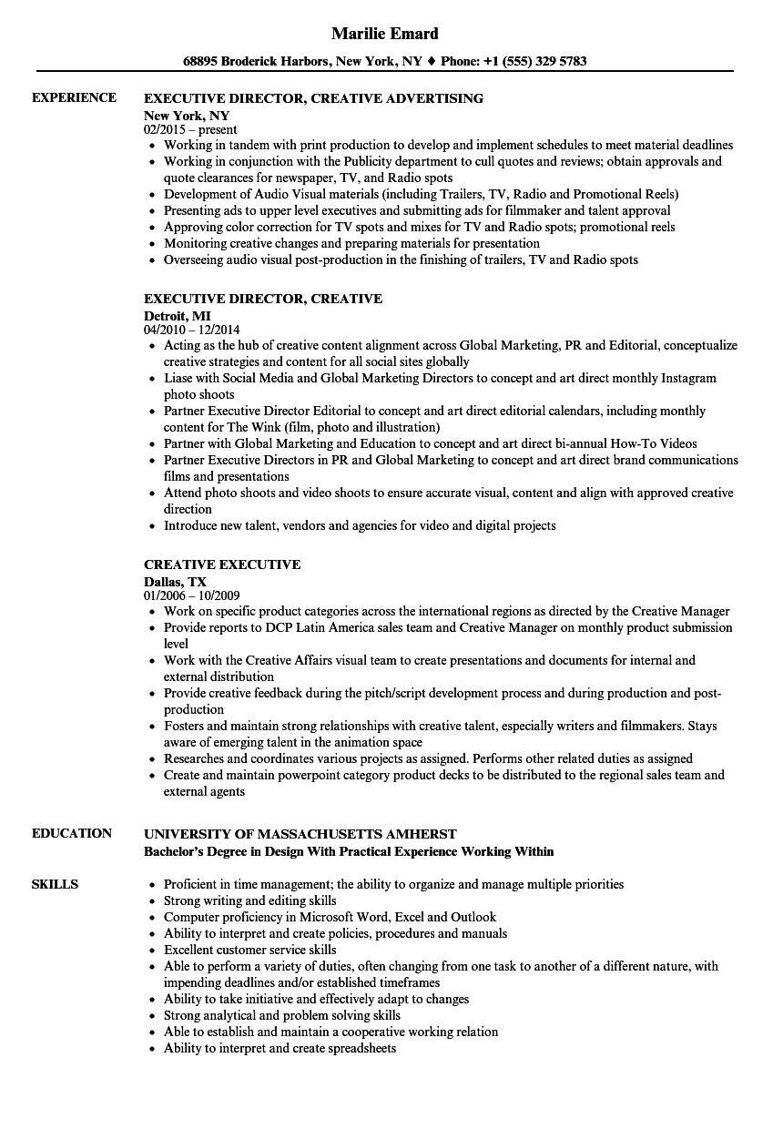 Creative Executive Resume Samples Velvet Jobs