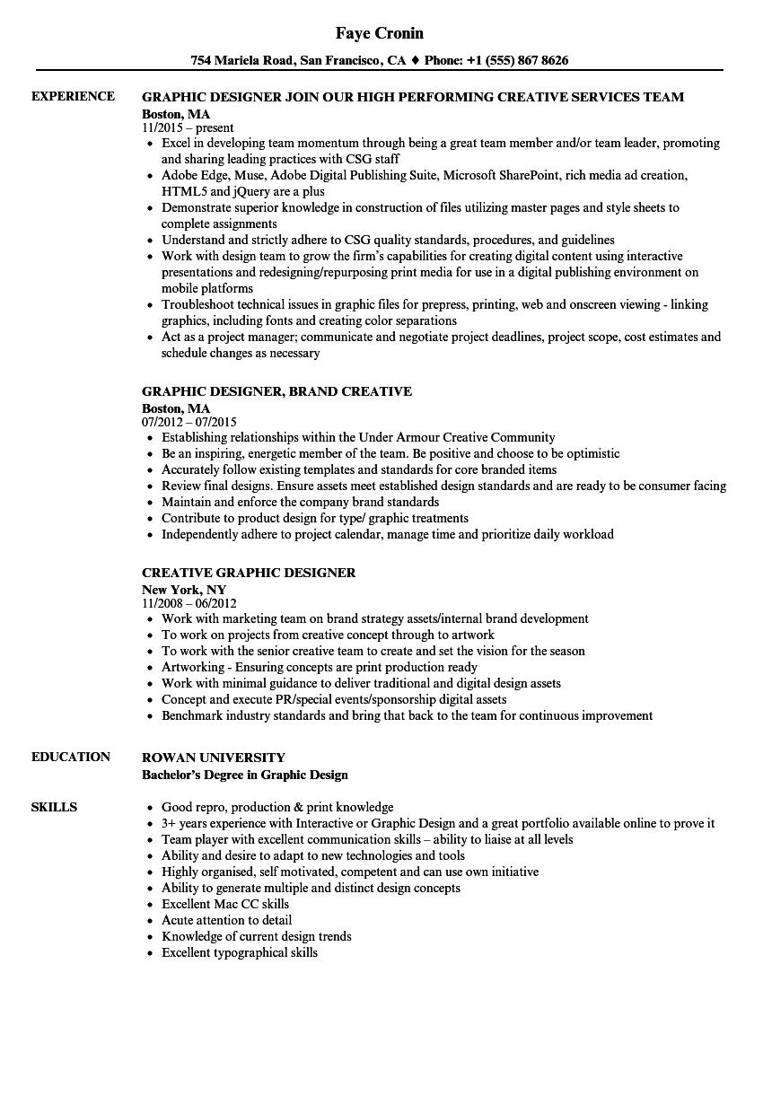 creative graphic designer resume pdf