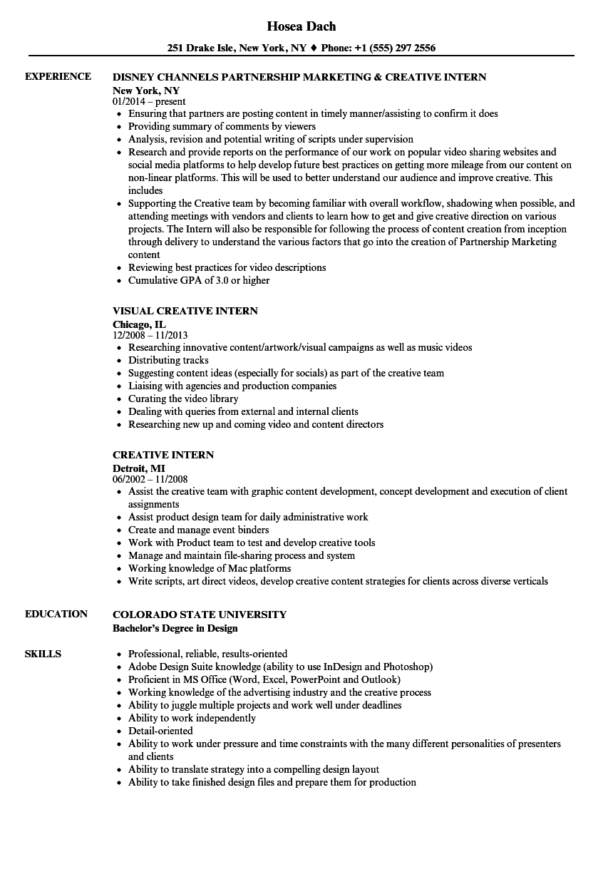 Creative Intern Resume Samples Velvet Jobs