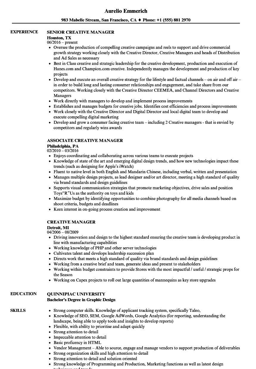 Creative Manager Resume Samples Velvet Jobs