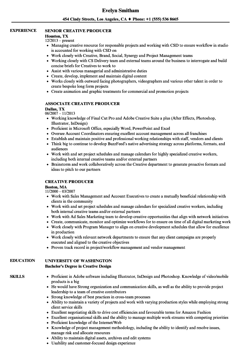 Download Creative Producer Resume Sample As Image File