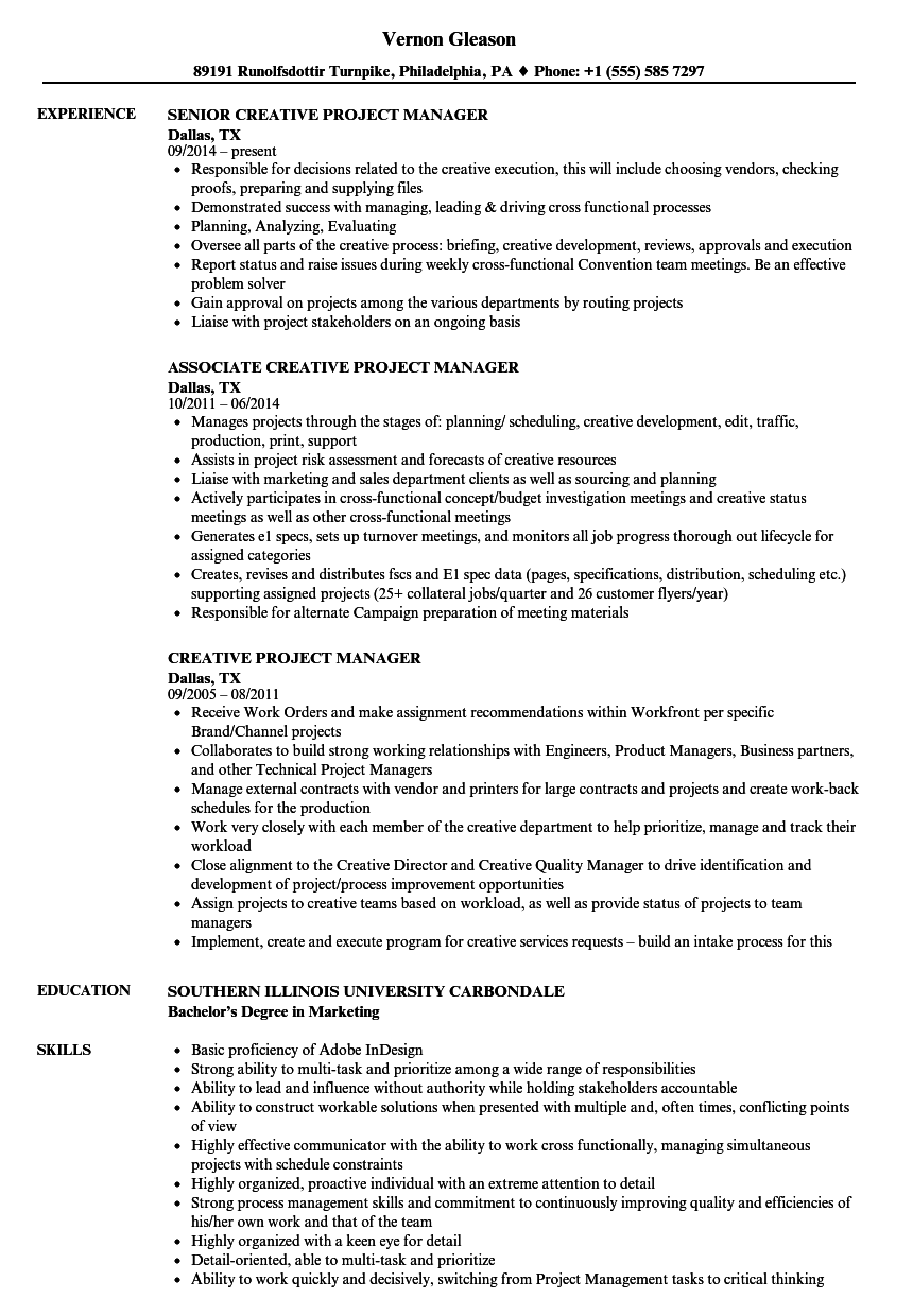 creative project manager resume samples velvet jobs