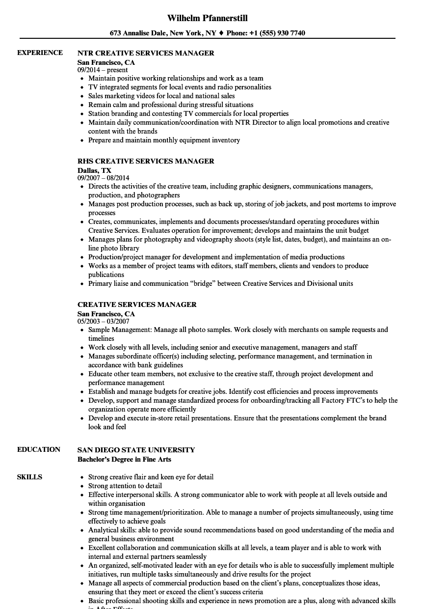 creative services manager resume samples