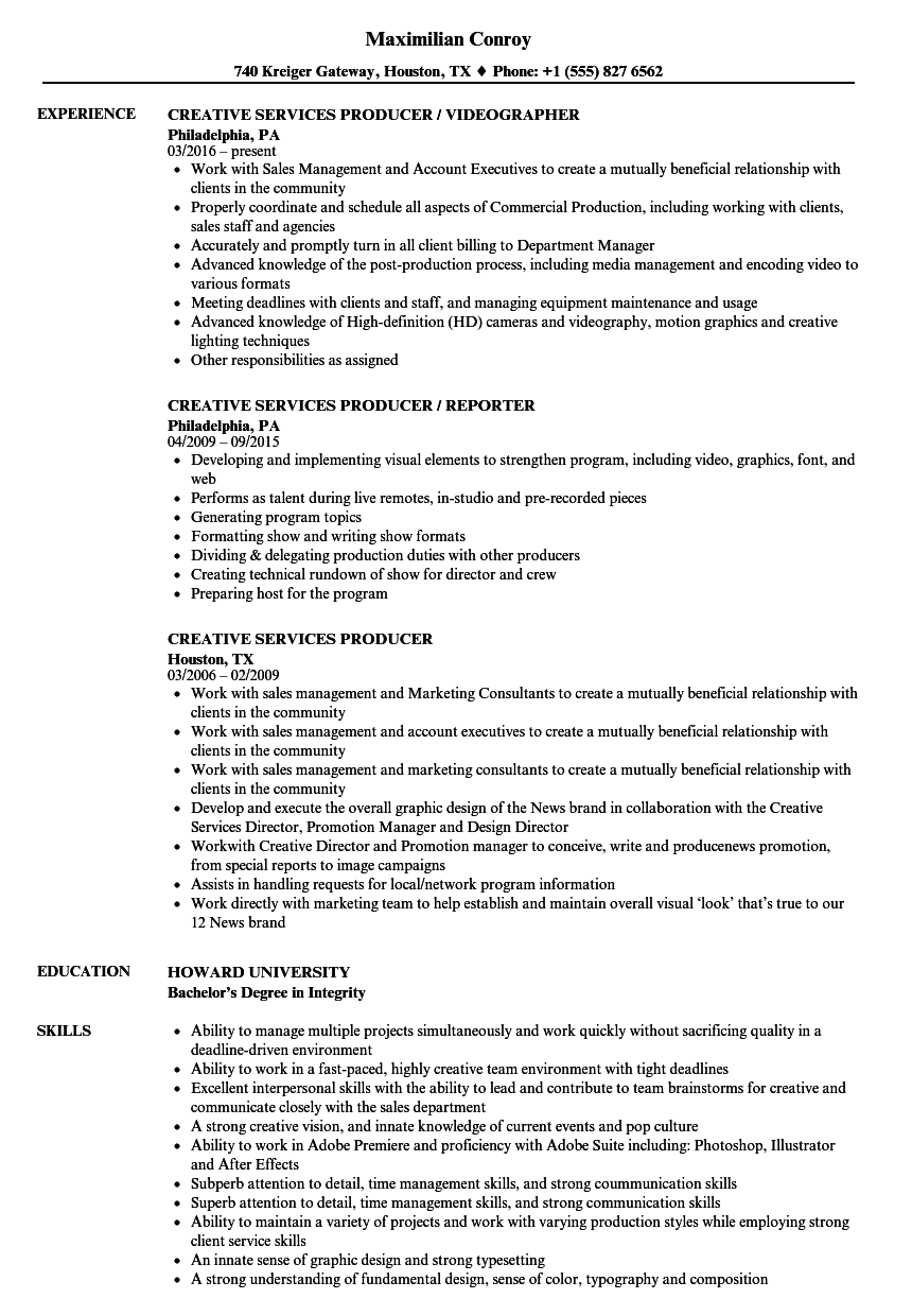 creative services producer resume samples