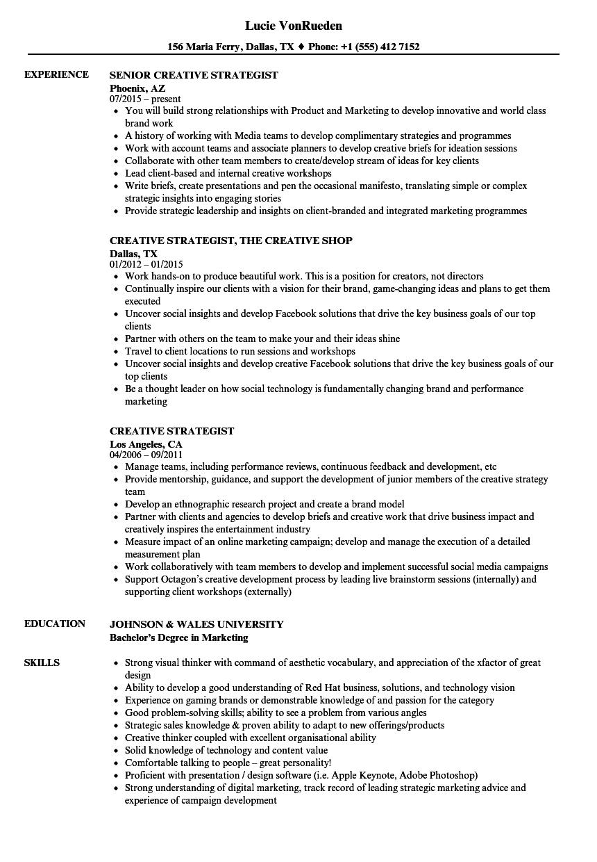 Creative Strategist Resume Samples | Velvet Jobs