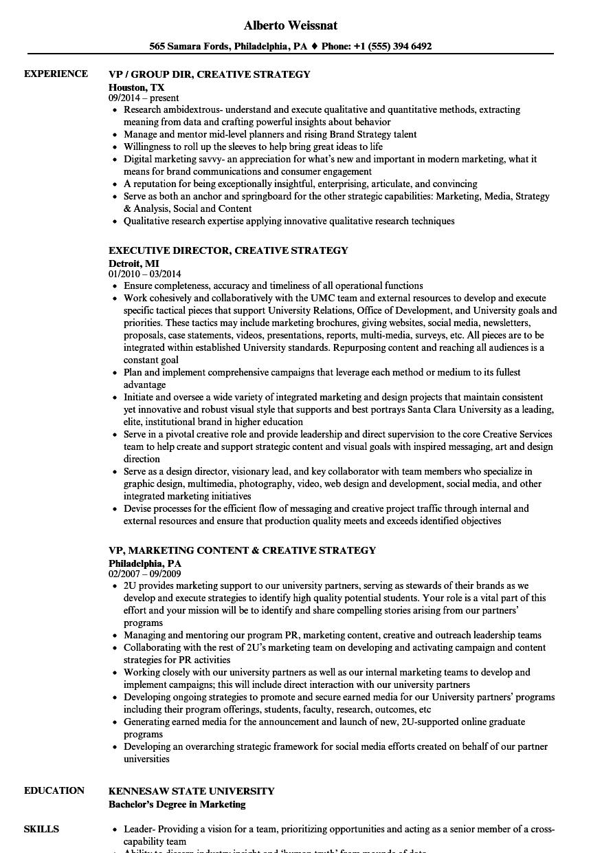 Creative Strategy Resume Samples Velvet Jobs