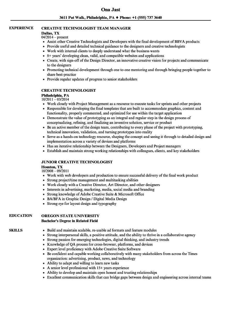 Creative Technologist Resume Samples | Velvet Jobs