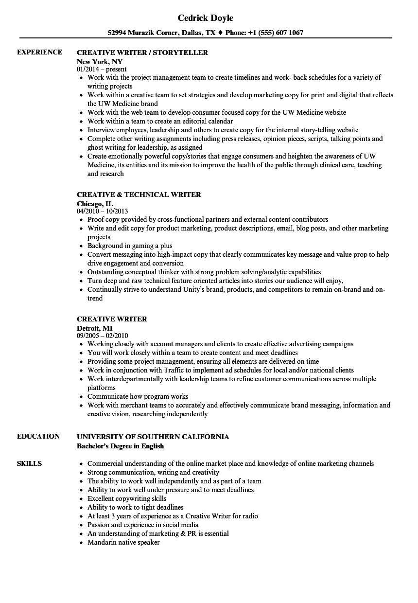 Creative Writer Resume Samples | Velvet Jobs