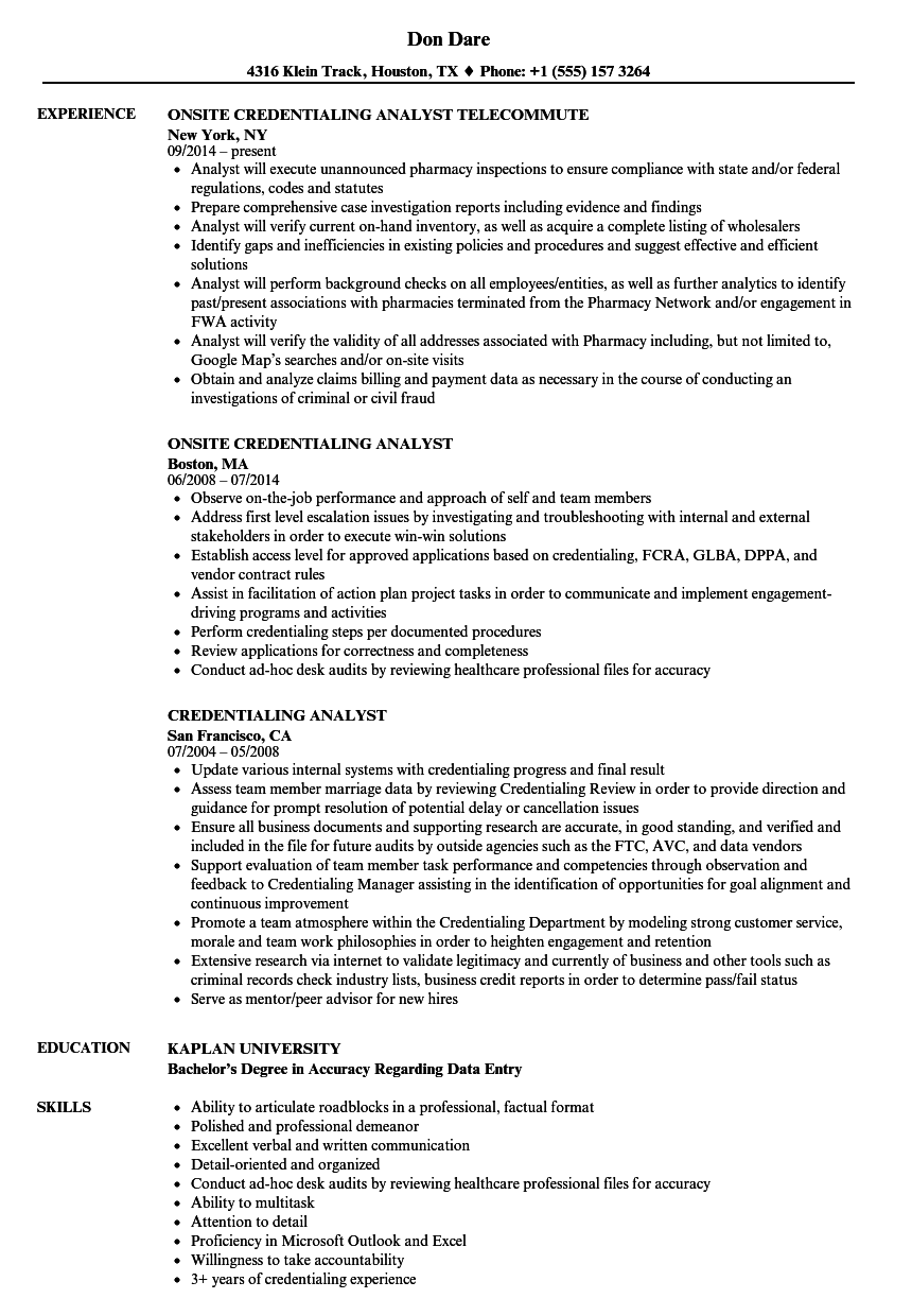 credentialing analyst resume samples