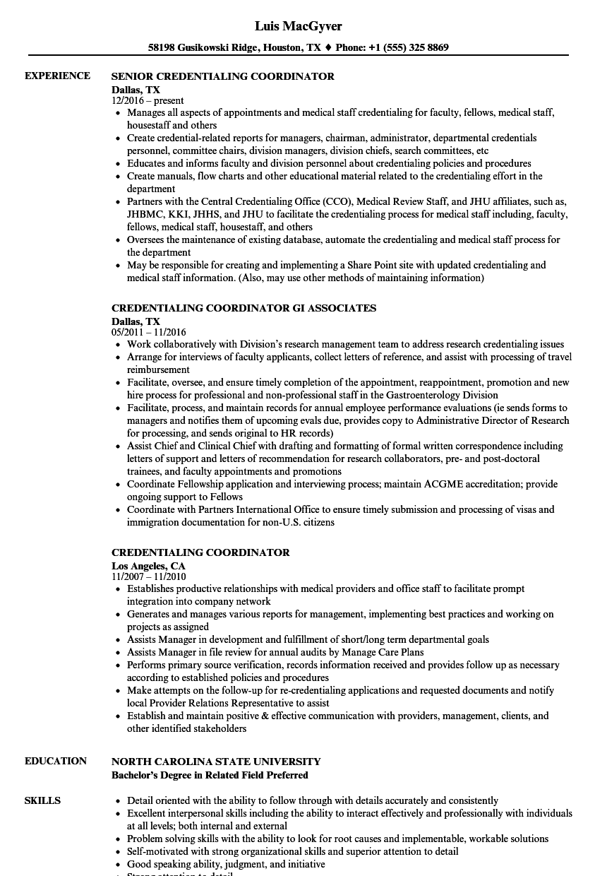Credentialing Coordinator Resume Samples Velvet Jobs