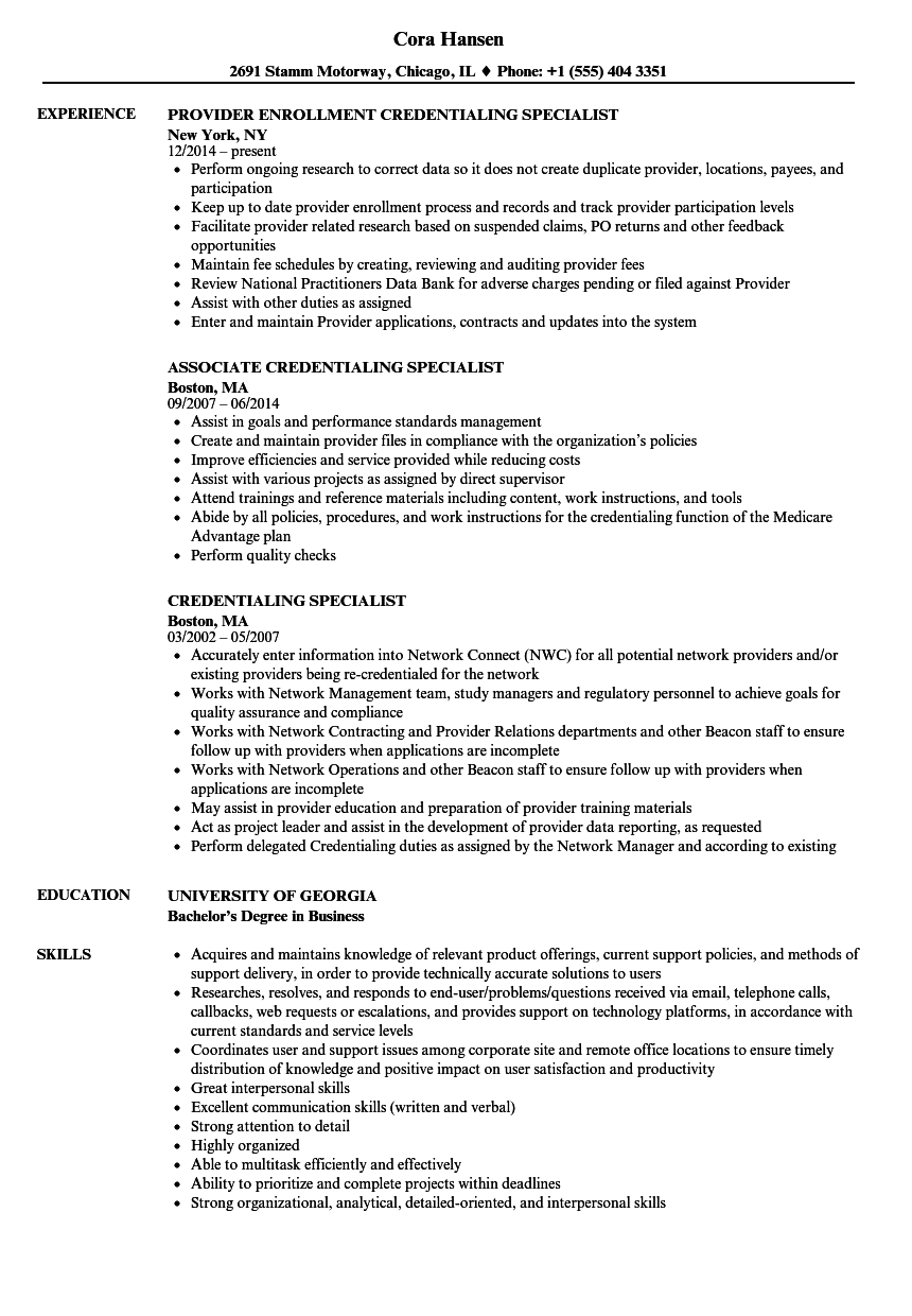 Credentialing Specialist Resume Samples | Velvet Jobs