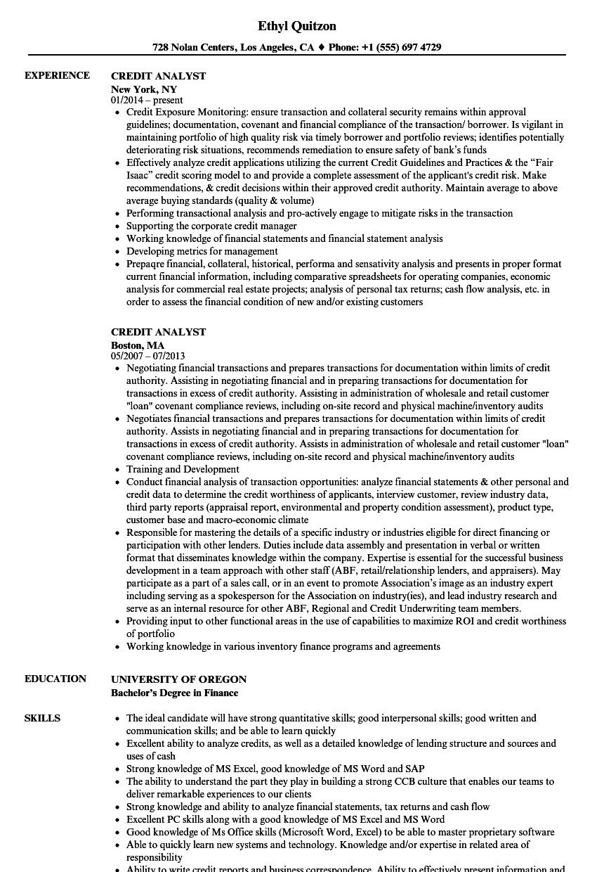 download credit analyst resume sample as image file - Sample Credit Analyst Resume