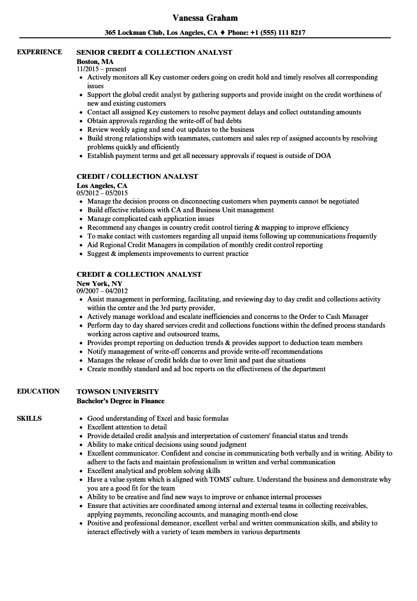credit  u0026 collection analyst resume samples