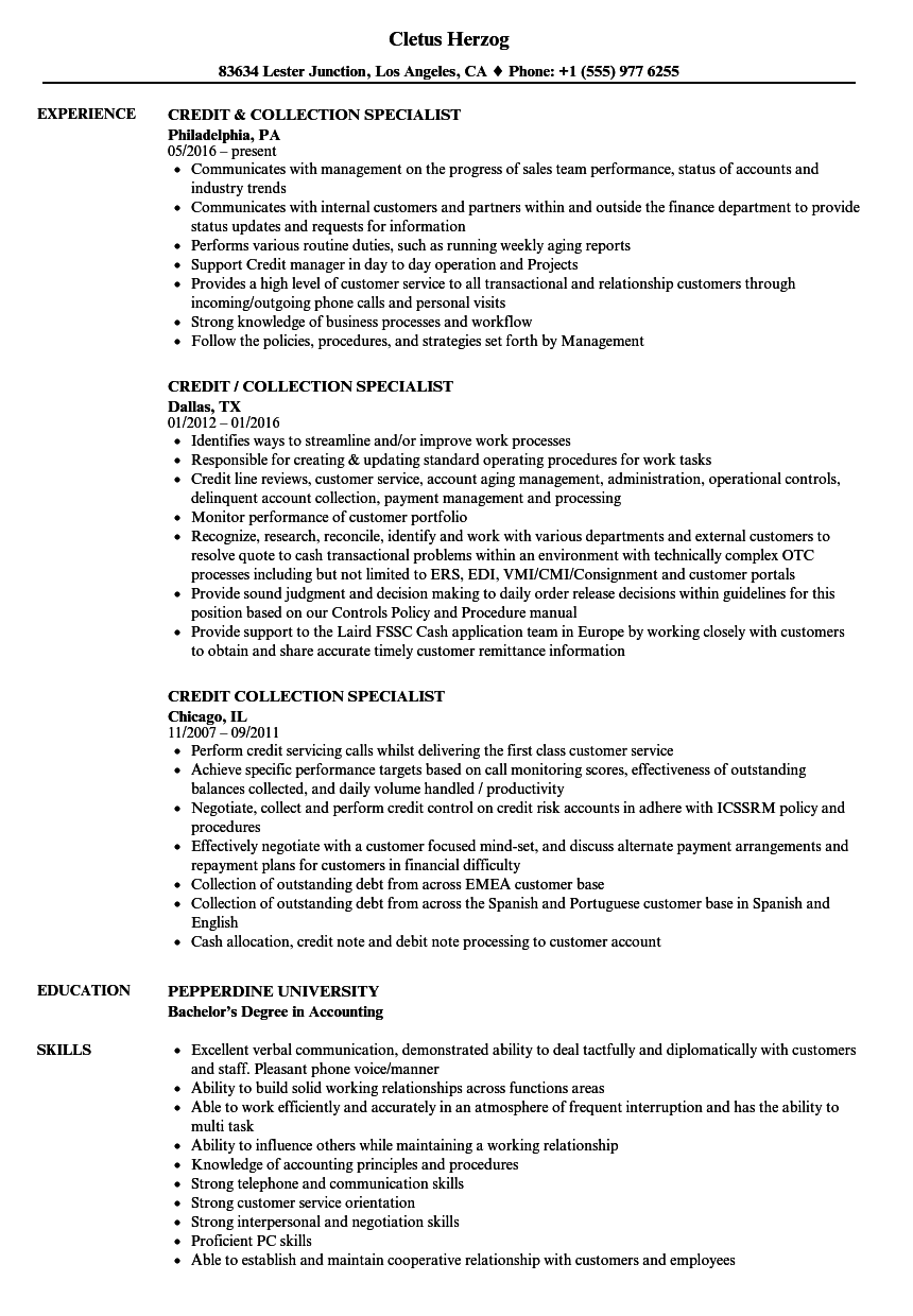 credit collection resume samples velvet jobs