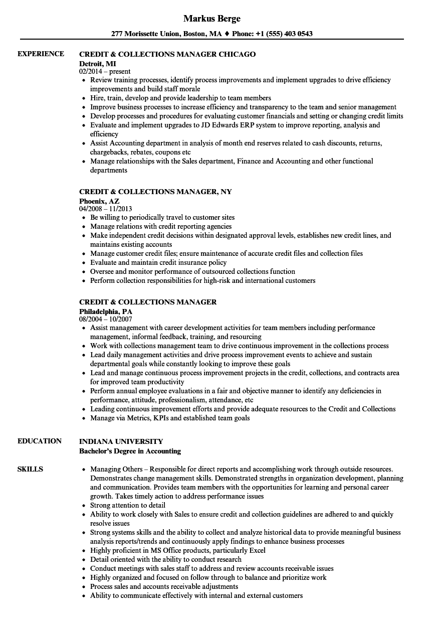 credit  u0026 collections manager resume samples