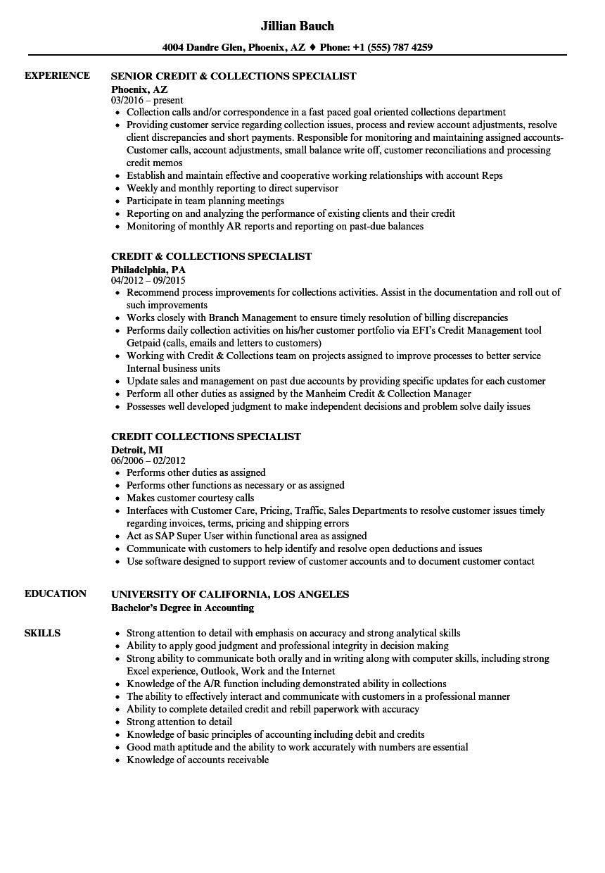 download credit collections specialist resume sample as image file